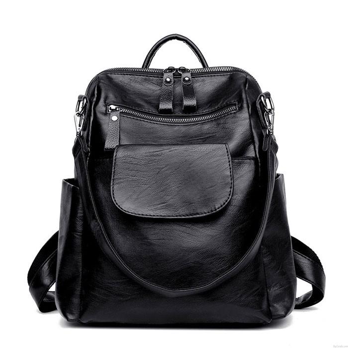 Mode Multifonction noir couleur pure Sac à bandoulière scolaire PU sacs à dos étudiants