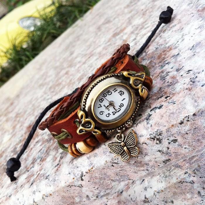 Mignon Papillon Corde Bracelet Regardez
