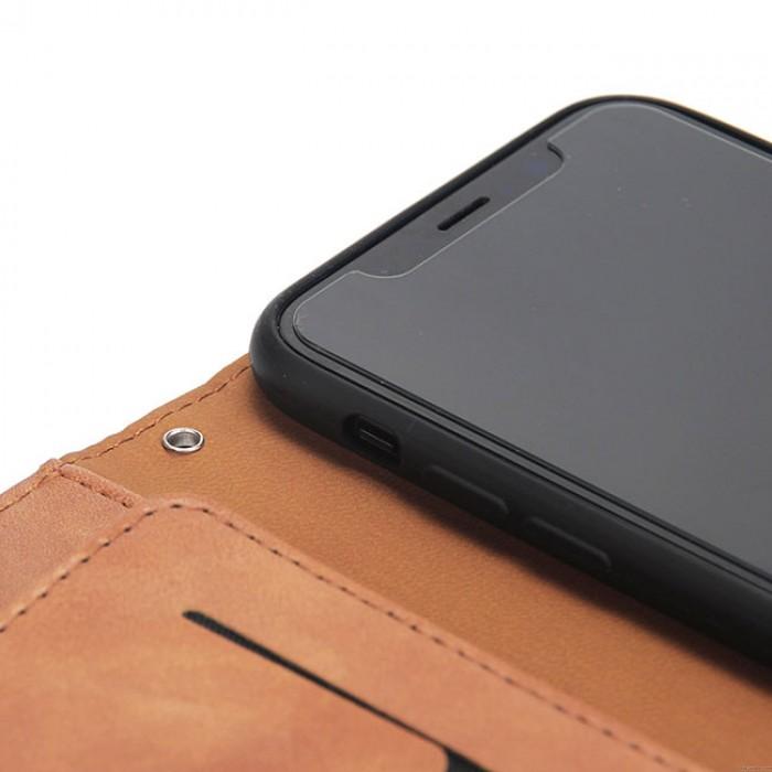 Rétro Trois Plier Mobile Téléphone Cuir Cas Embrayage Sac Fissure Iphone Portefeuille