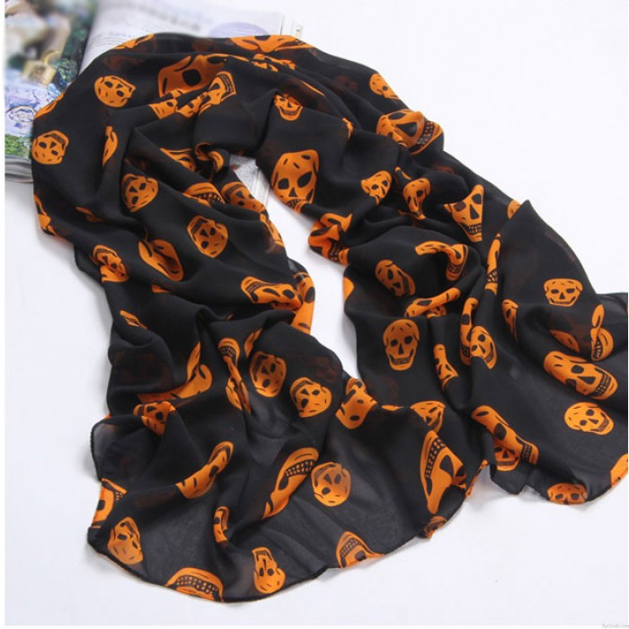 New Unique Skull Printed Voile Infinity Scarf
