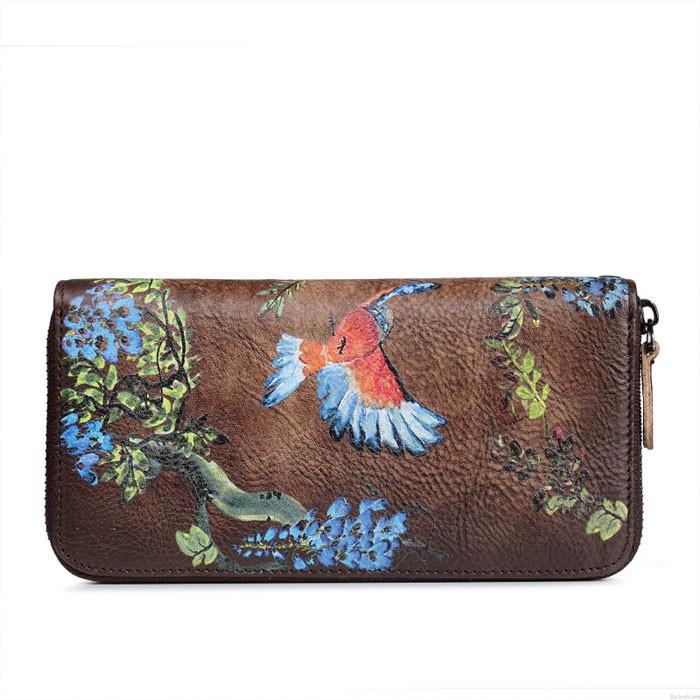 Vintage Original oiseau fleur branche gaufrage sac à main fermeture éclair unique téléphone embrayage sac long grand portefeuille