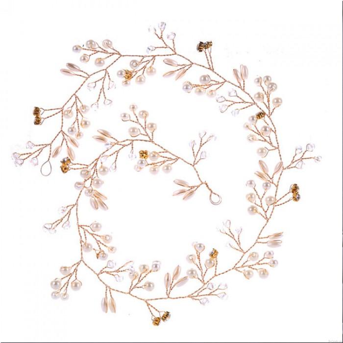 Mignonne feuilles perle branche bandeau chaîne de cheveux de mariage accessoires de cheveux