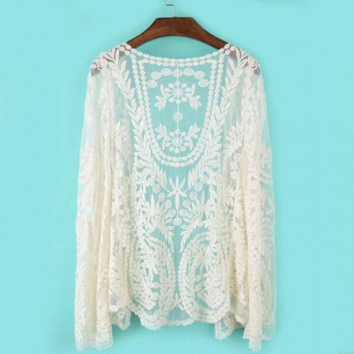 Sweet Crochet Lace Long-sleeved Cardigan&Sunscreen Shawl