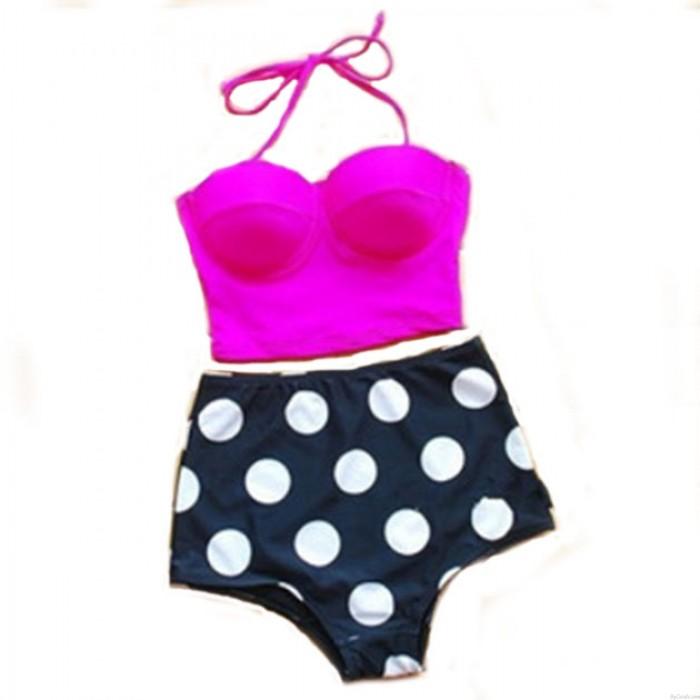 Dot Printed High Waist Swimsuit Sexy Bikini Swimwear Bathingsuit