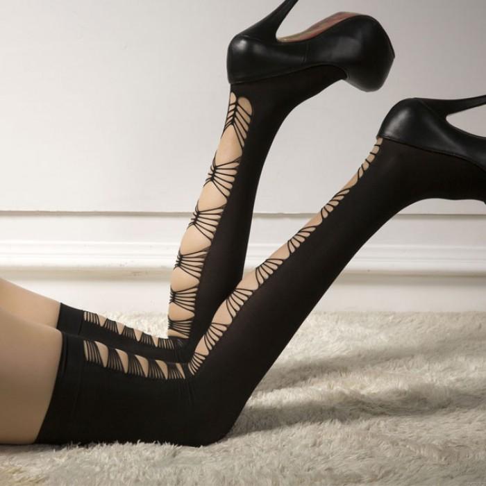 Discothèque Sexy Temptation Velvet High Chaussettes Lingerie Black Cross Longs Bas