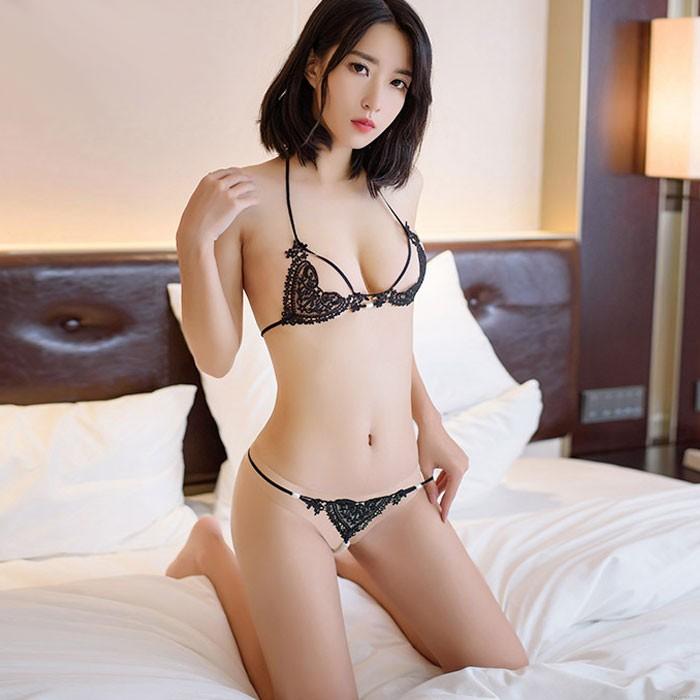 Sexy dentelle amour coeur sling soutien-gorge ensemble perle pantalon dame transparent creux lingerie intime