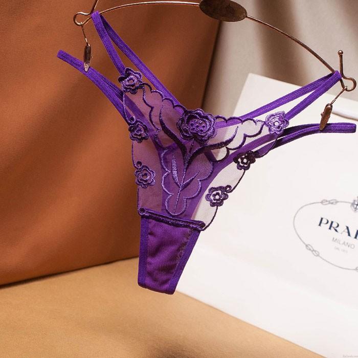 Sexy Transparent fleur maille broderie culotte taille basse sous-vêtements femme Lingerie ouverte entrejambe T pantalon