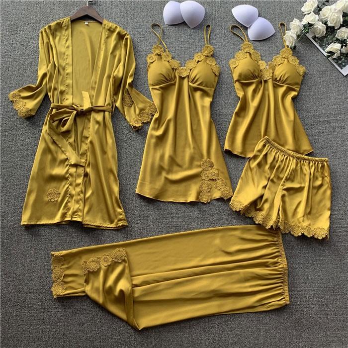 Sexy soie fronde chemise de nuit cinq pièces costume dames chemise de nuit dentelle printemps automne minces shorts femme pyjamas