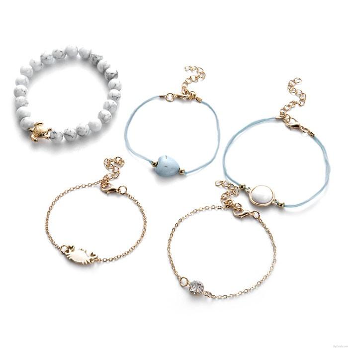 Bracelet unique de cinq pièces avec perles d'amour crabe écaille de tortue turquoise
