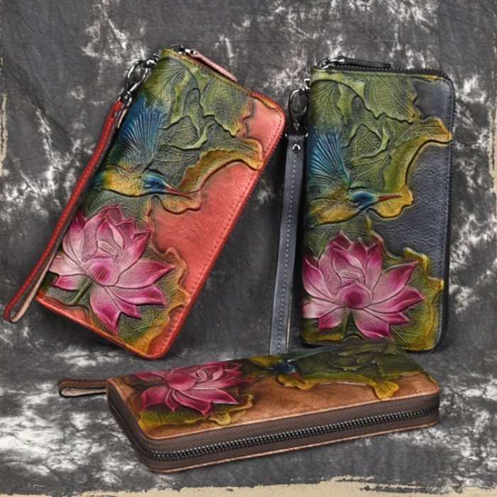 Lotus Original Rétro Fleur Lotus Feuille Oiseau Pochette Vintage Portefeuille en relief