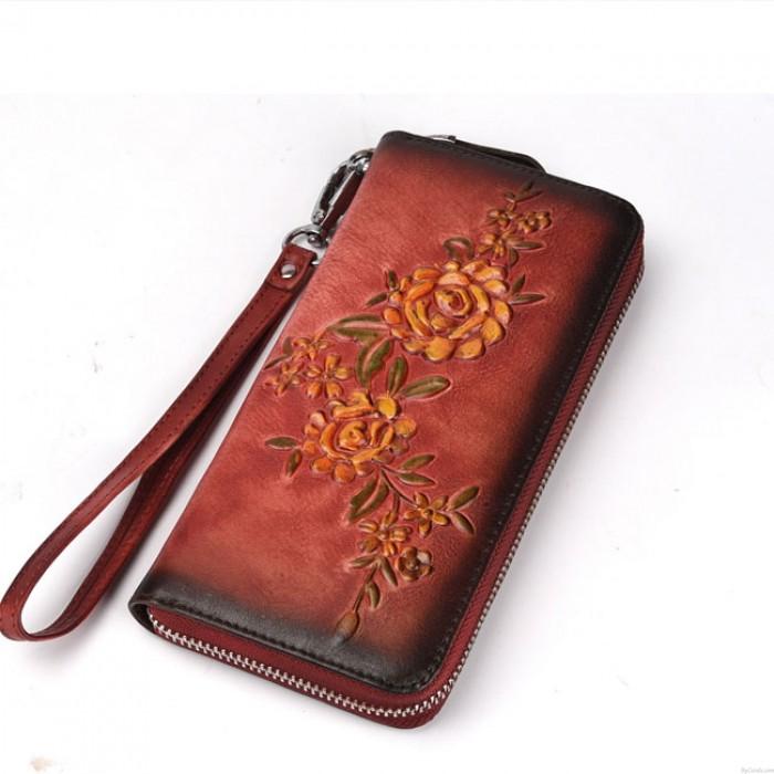 Ancien Original Branche Pochette portefeuille en relief à la main 3D fleur rose