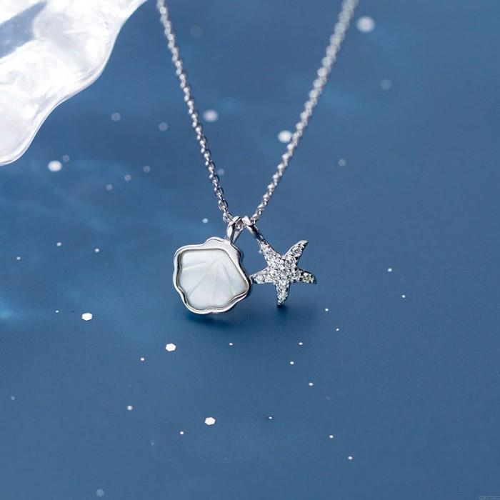 toile de mer coquillage mignon Collier avec pendentif en argent de style océan Clavicule 925 pour femmes