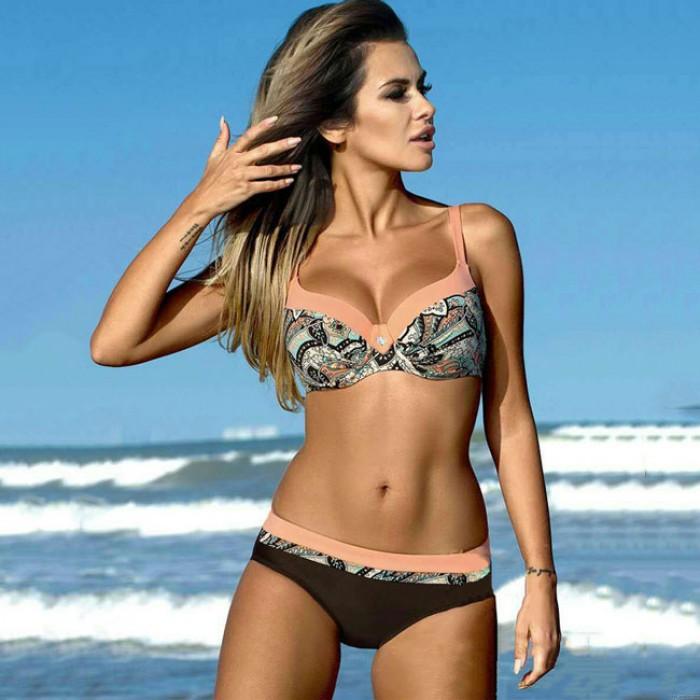Bikinis d'été pour femme sexy imprimé léopard bretelles maillots de bain de plage