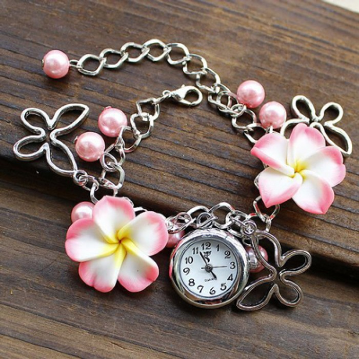 Frais perle de fleurs en métal bracelet de montre