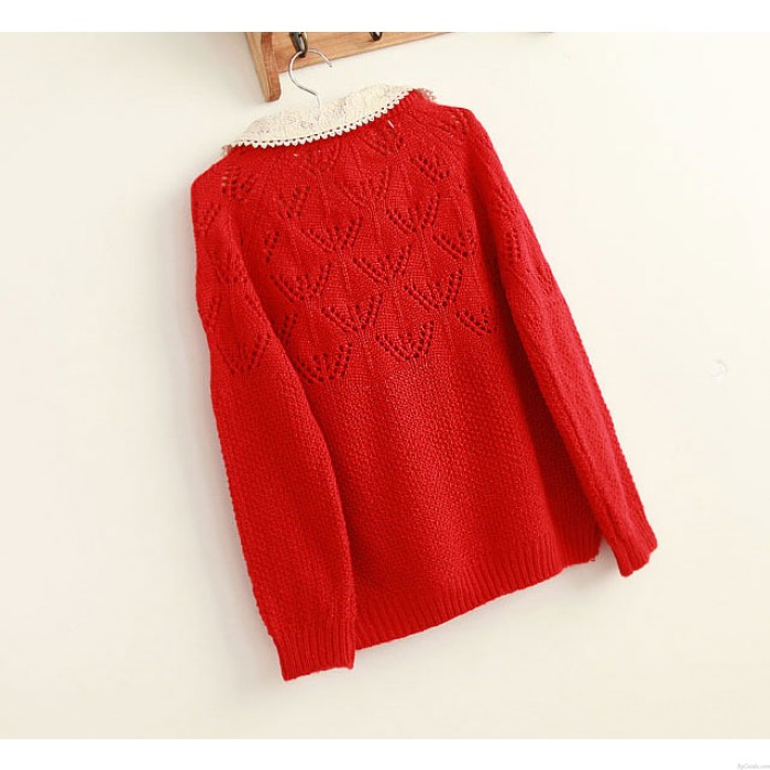 New Fashion Hollow Out Lace Loose Sweater Knit Cardigan