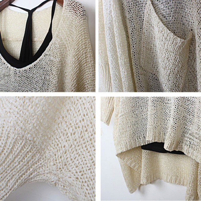 Unique Hollow Out Bat Sleeved Sweater