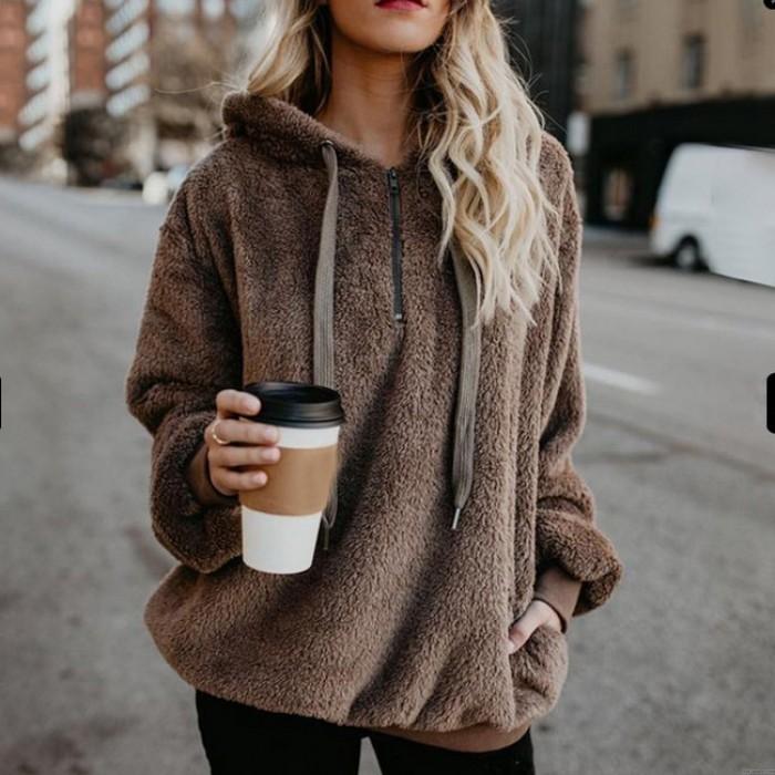 Veste en velours à capuche de couleur unie à manches longues de Leisure Leisure pour femmes