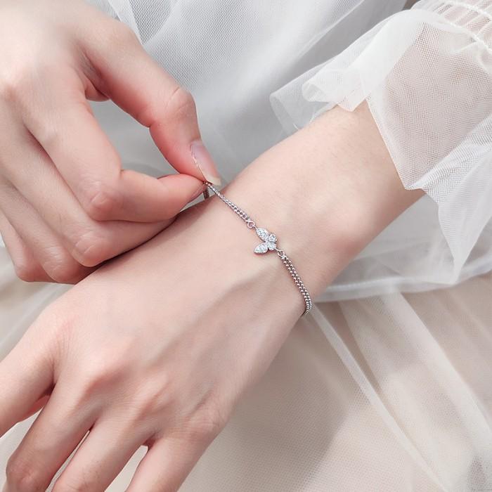 Mode papillon Double couche argent papillon diamant bijoux réglable femmes bracelets de cheville Bracelet