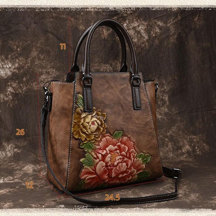 Sac à bandoulière en cuir de fleur de sac à main de pivoine 3D fait main rétro