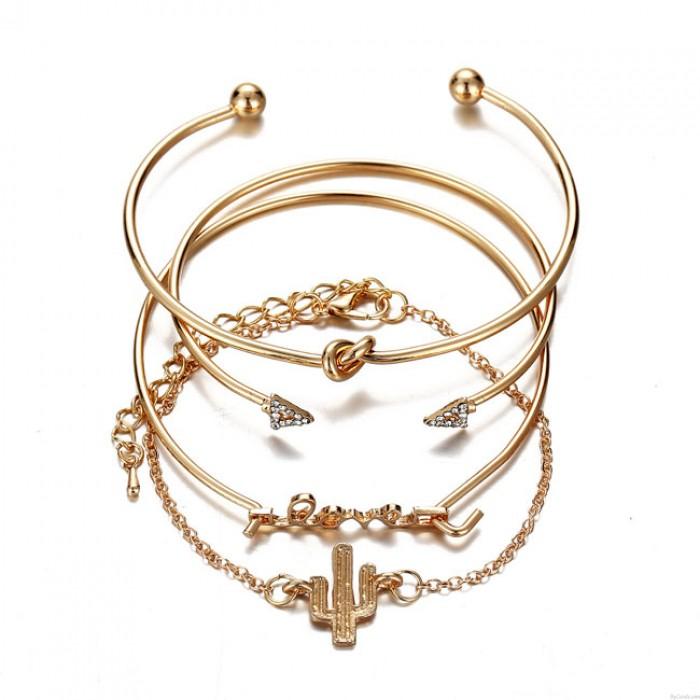 Unique Cactus Bracelet Triangle Flèche Noué AMOUR Combinaison Quatre pièces Bracelet