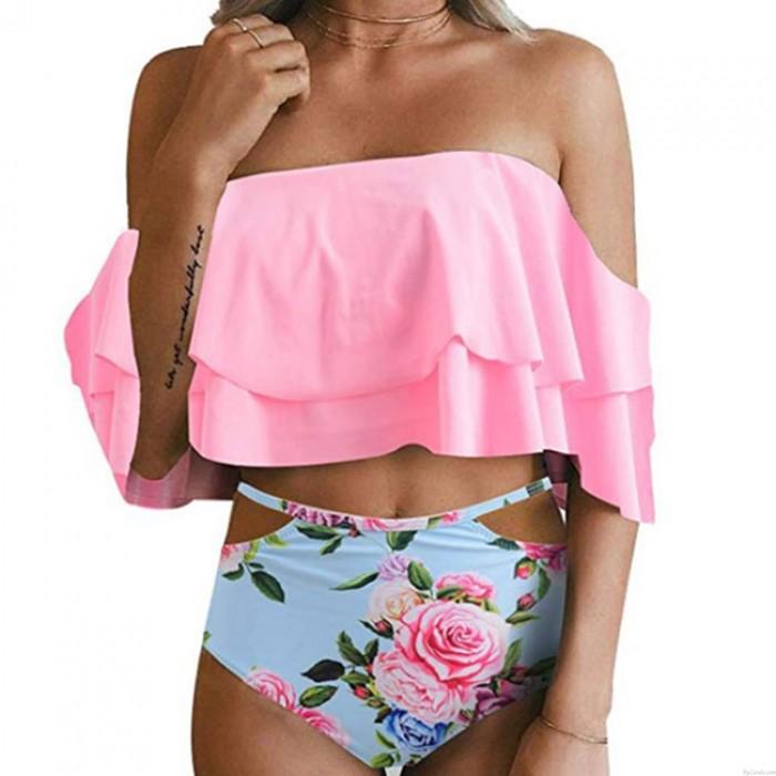 Sexy rose fleur maillot de bain taille haute maillot de bain femmes volants feuilles Bikinis