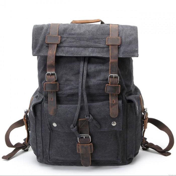 Sac à dos en cuir rétro trois boucles grand sac de camping en plein air