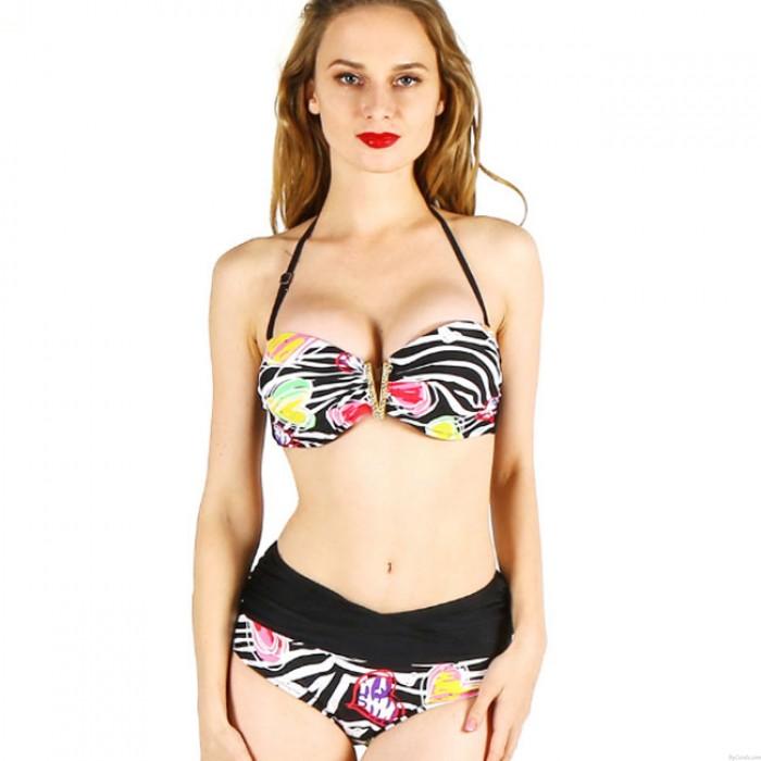 Maillot de bain femme sexy taille haute plage imprimé fleurs d'été Bikinis Floral