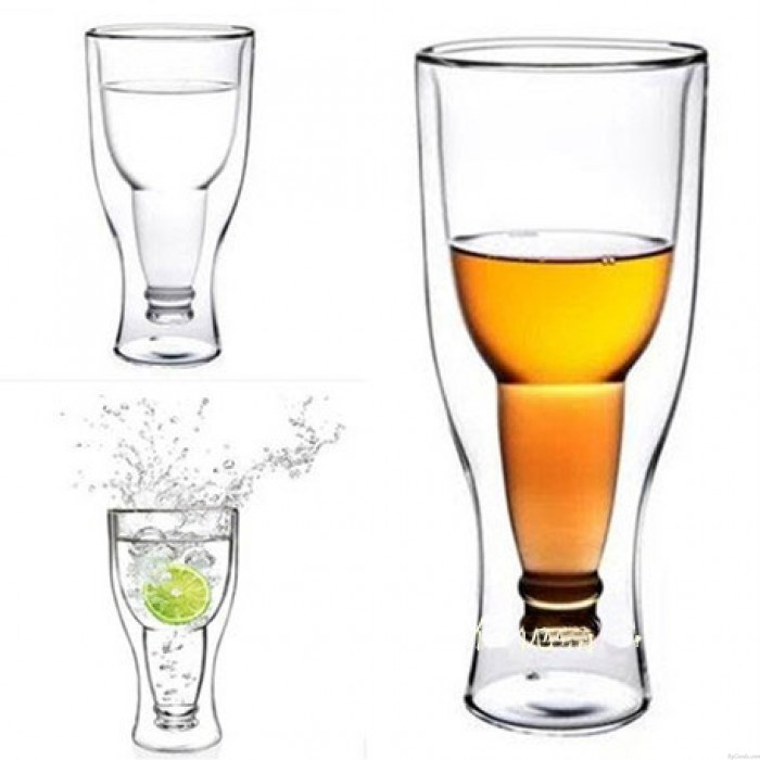 Creative Hand-flown Flip Bottle Double Glass Cup
