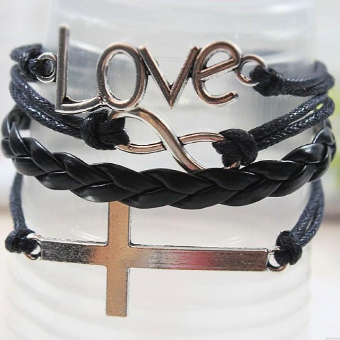 Bracelet infini d'amour à armure en croix