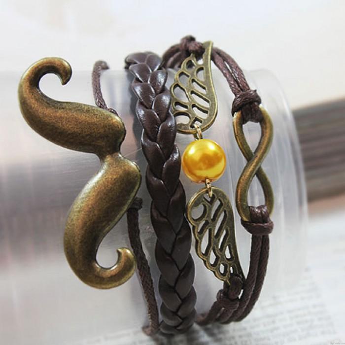 Bracelet infini ailes de barbe rétro