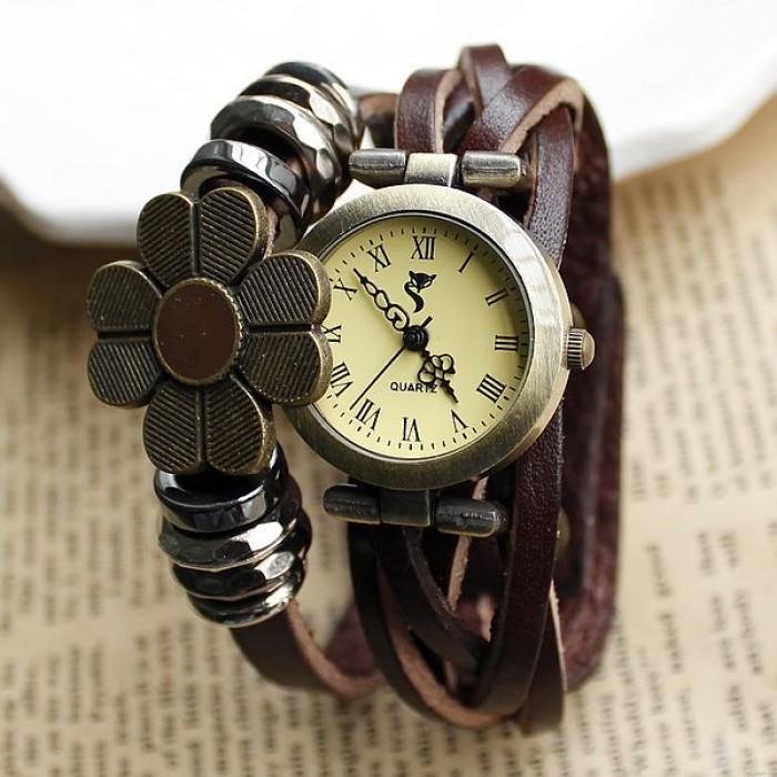 Rétro Tisser Tournesol Bracelet Regardez