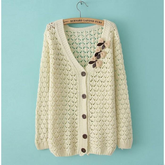 Sweet Bow Hollow Loose Sweater & Cardigan