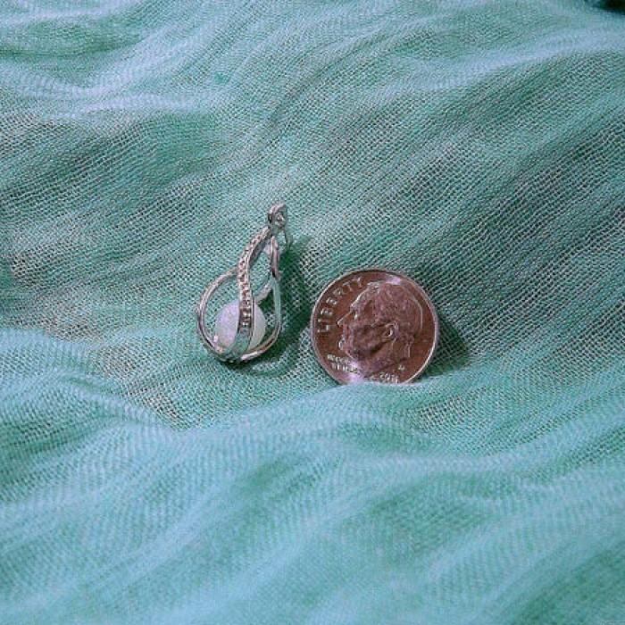 Original Plaqué argent Embrasé Perle Lumineux Ball Drop Pendentif Collier