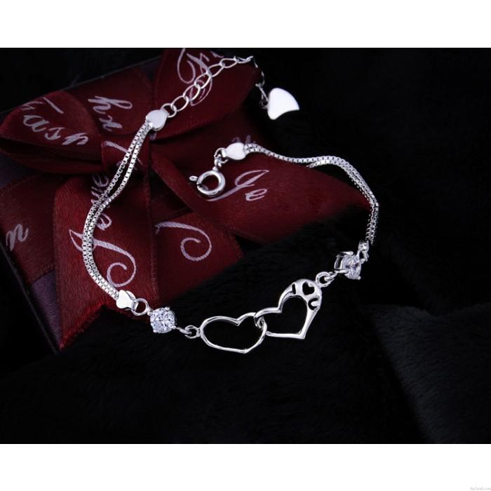Pretty Heart-Shaped 925 Pure Silver Diamond Bracelets