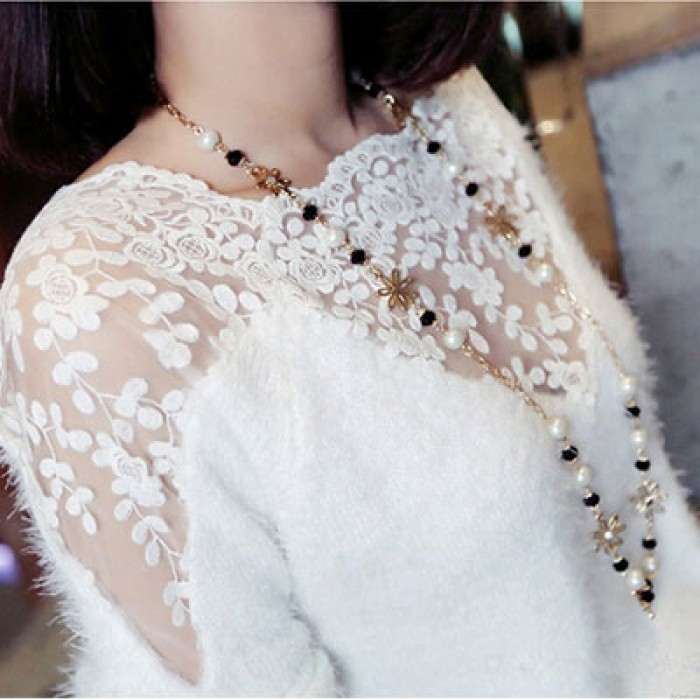 Flower Print Lace Stitching Mohair Sweater