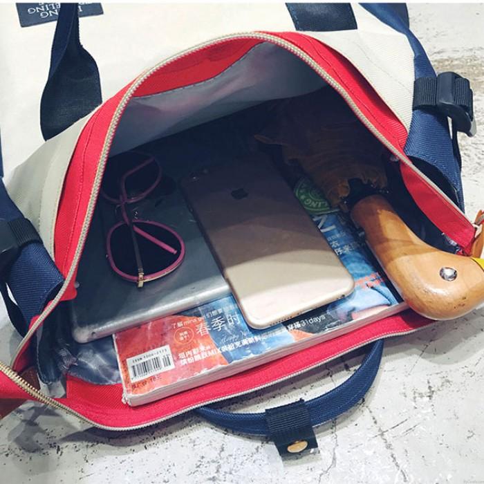 Mode Unisexe Amoureux Carré Grand Toile Sac D'ordinateur Portable Multifonction Sac À Main À Dos