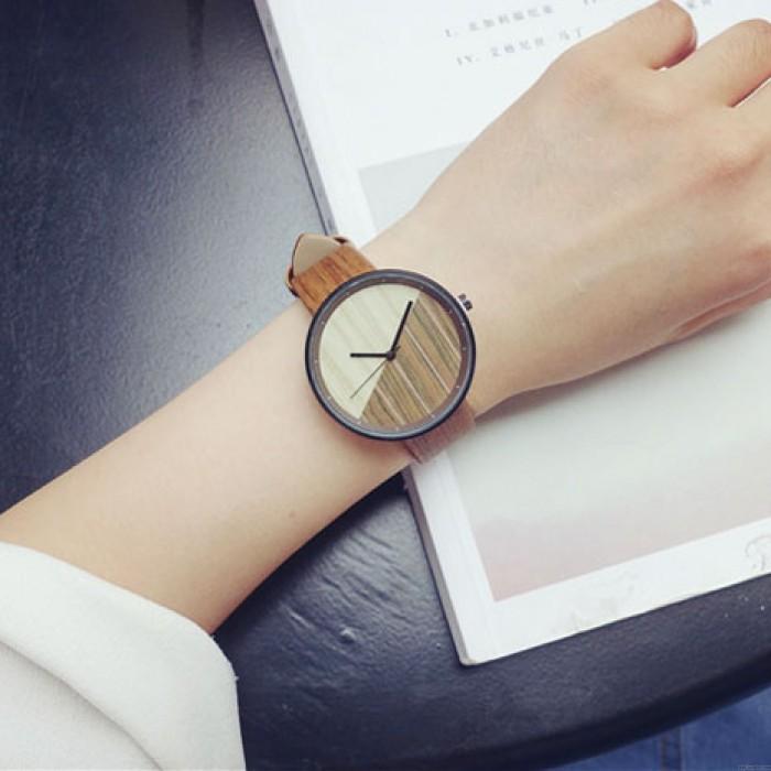 Rétro simple cadran circulaire bracelet en grain de bois montre à quartz étanche