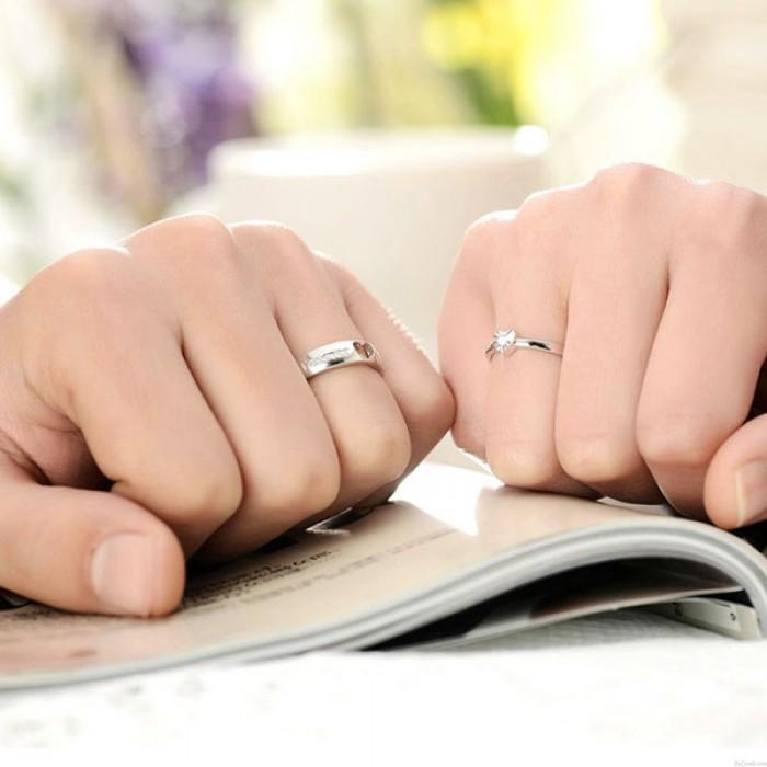 Creux Strass Lettrage 925 Couple en Forme de Coeur Anneaux d'ouverture