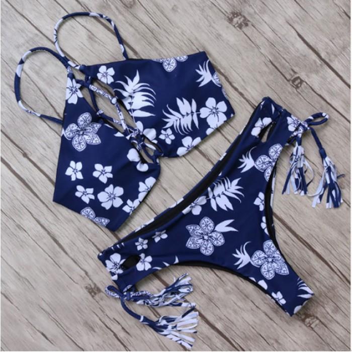 Glands maillot de bain bikini fleurs fraîches imprimer rassemblement