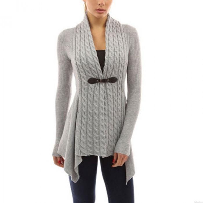 Cardigan à manches longues en v-cou tricoté irrégulièrement à la base pour femmes
