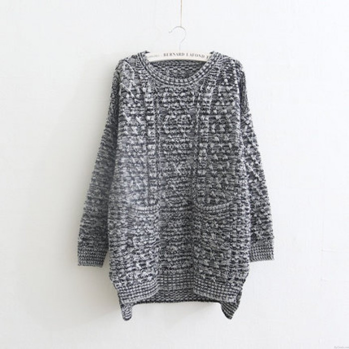 Slit Sides Thicken College Style Sweater