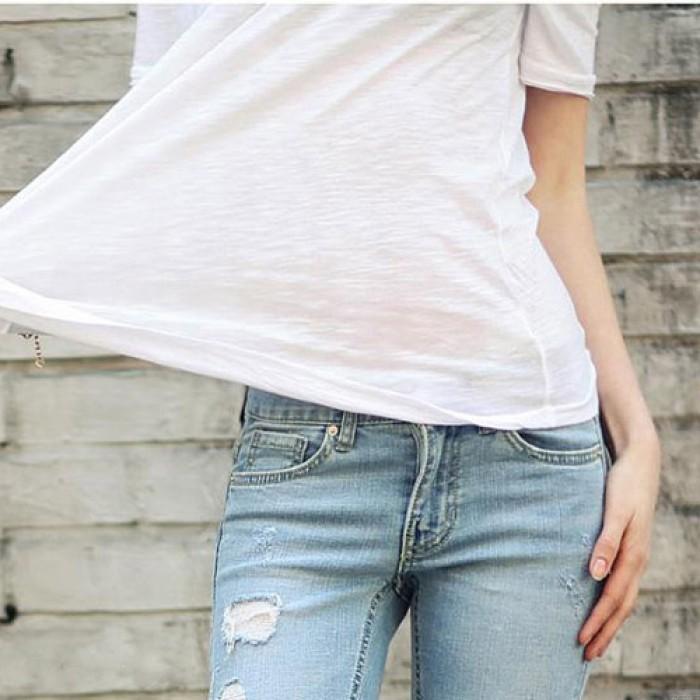 Décontractée facile Solide Rond Cou Coton Court Manche T-shirt