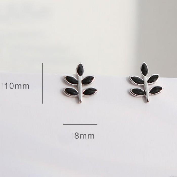 Boucles d'oreilles printemps mignon Simple feuille noire Doux feuilles goujons boucles d'oreilles fille d'argent