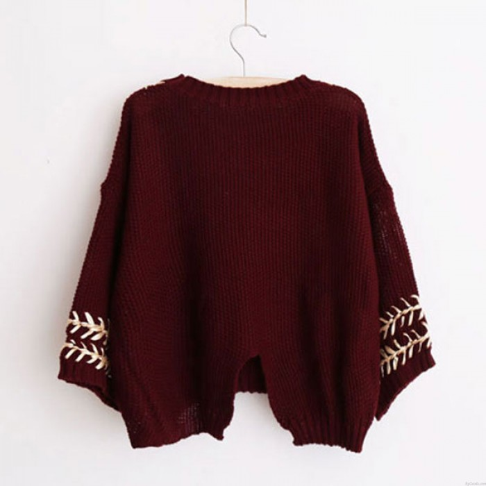 College Sweet Weave Lace O-neck Batwing Sleeve Slit Back Knit Loose Sweater