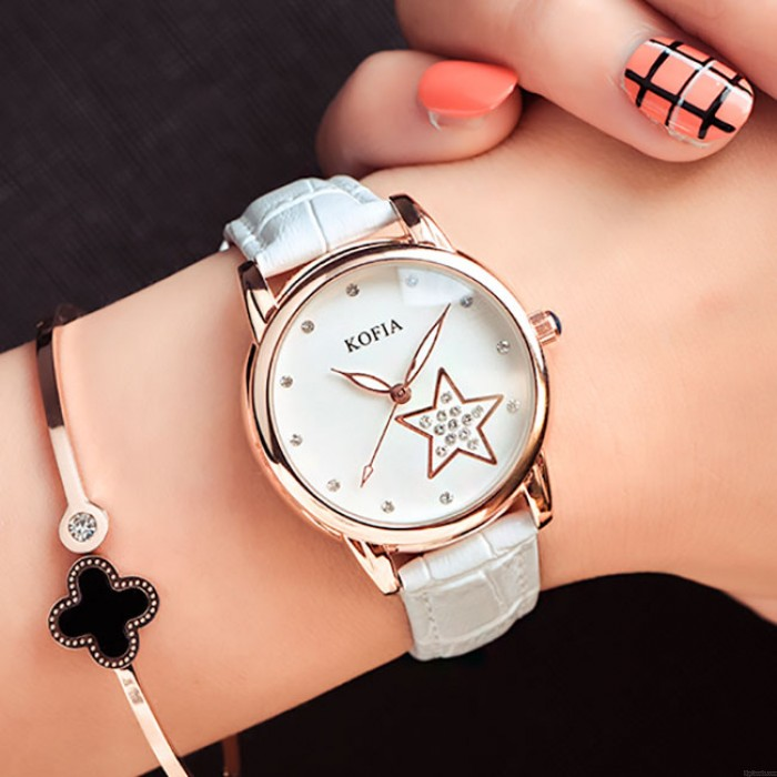 Quartz lumineux étoile corticale diamant mignon femmes imperméables montre-bracelet