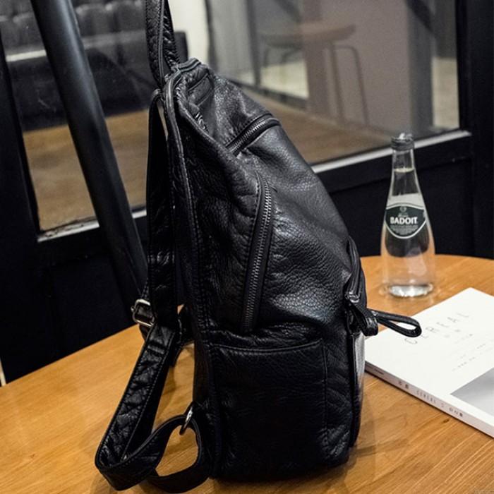 Mode noir en cuir souple dames simple grand sac à dos universitaire