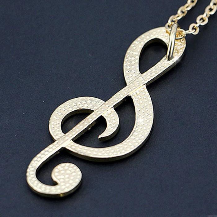 Brillant notes de musique pendentif diamant élégant pull collier