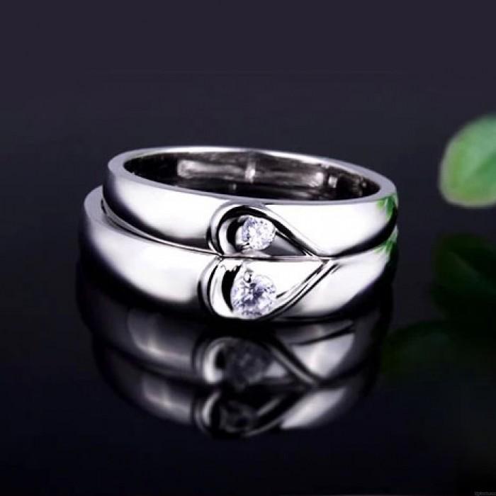 Caractères 925 Argent Couple Demi Cœur faux diamant Bague