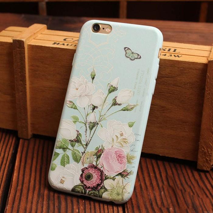 Matin Gloire Cerise Pivoine Une fleur Le Soulagement Silicone Doux Iphone Cas Pour 6 / 6Plus