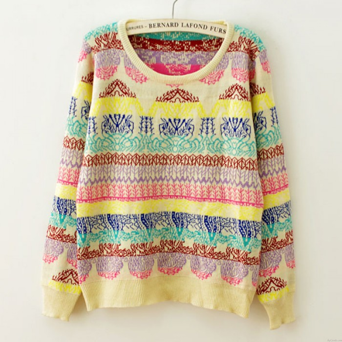 Sweet Rainbow Geometry Print Knitted Sweater